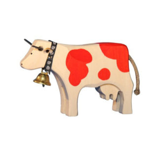 Swiss Wooden Red Cow with Bell